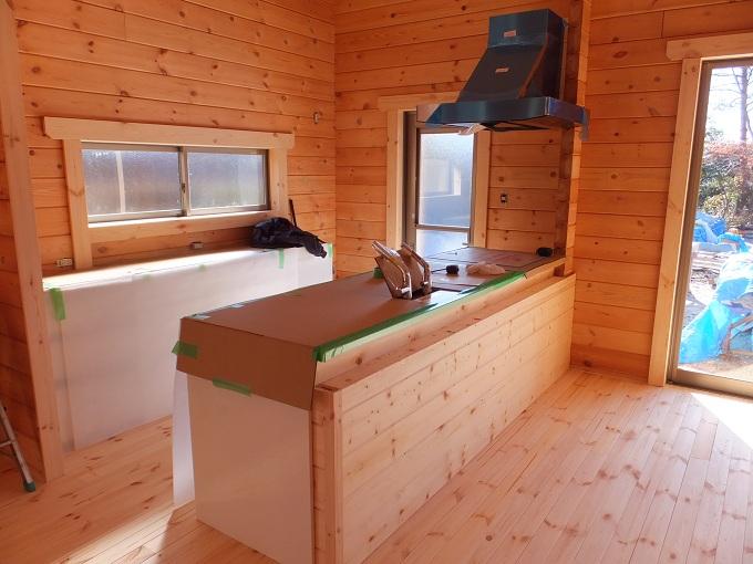 ログハウスのキッチン写真