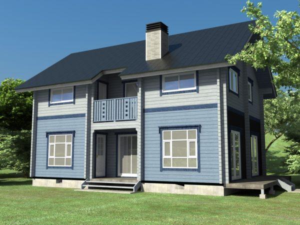 2階建てログハウスの完成イメージ