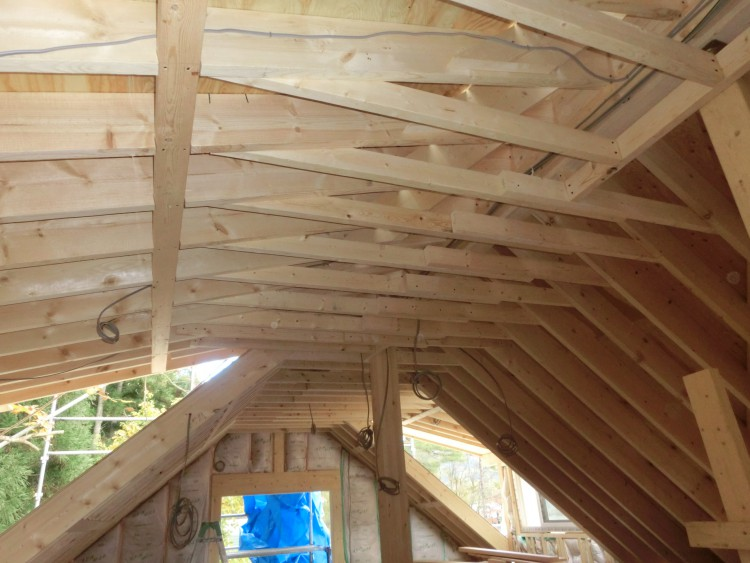 ログハウス 内装 屋根