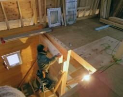 ログハウス 二階の工事